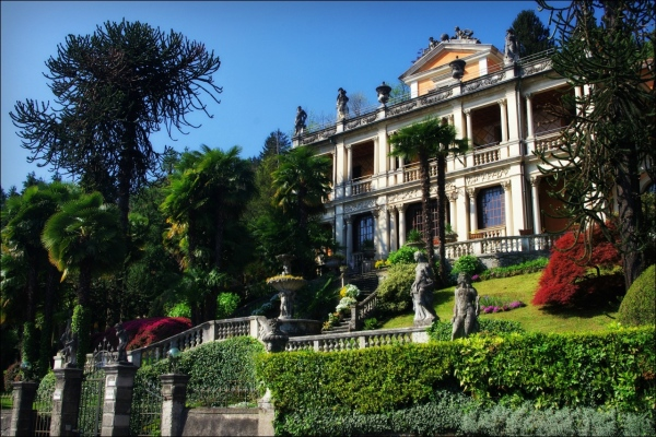 italy, lago maggiore, mansion, garden, trees