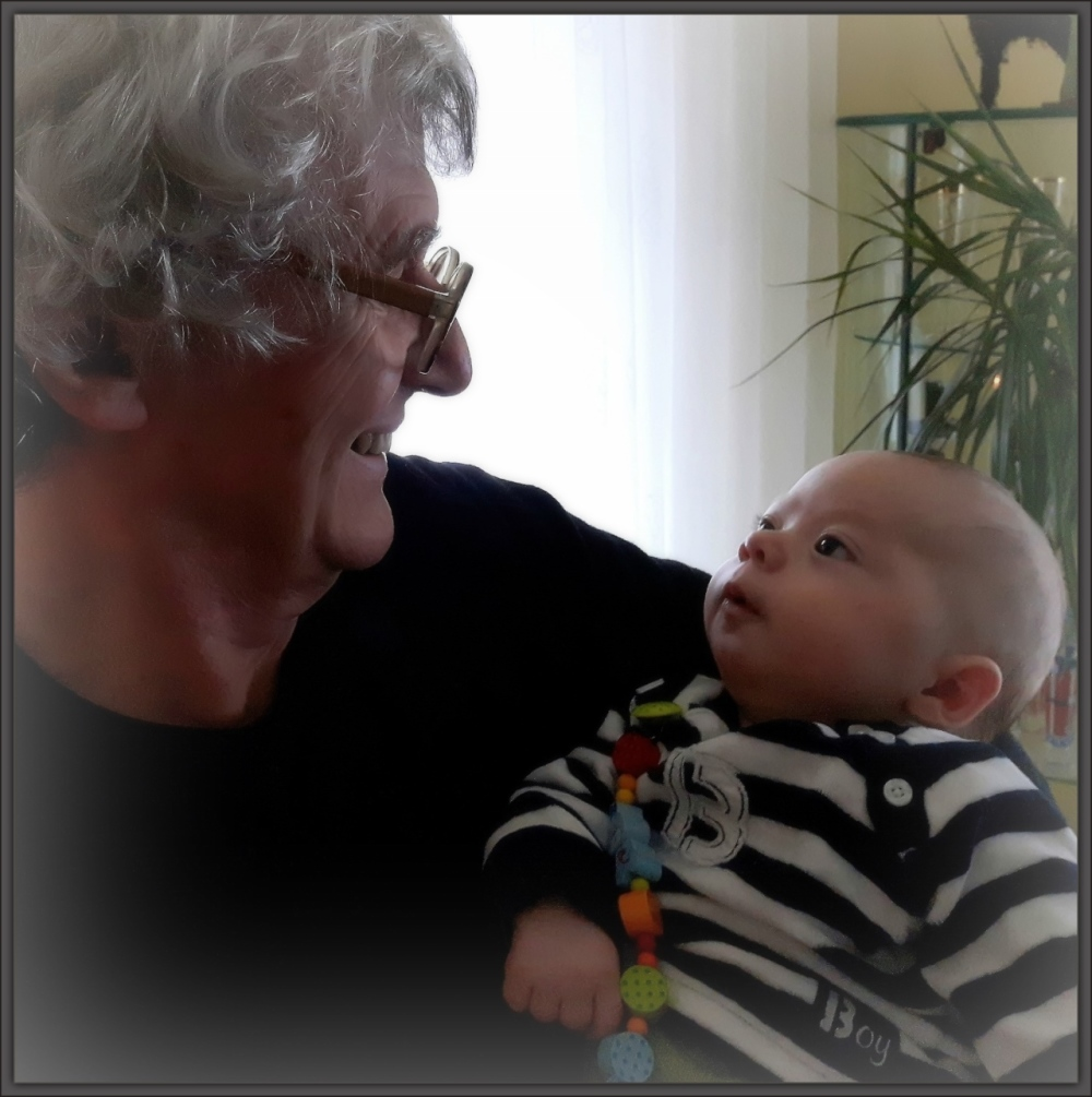 Felix, grandson, four months old, grandpa