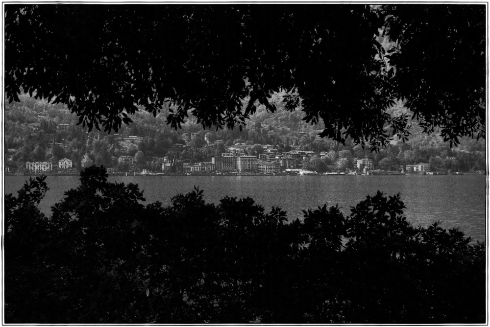italy, bellagio, cadenabbia, lake como, bw