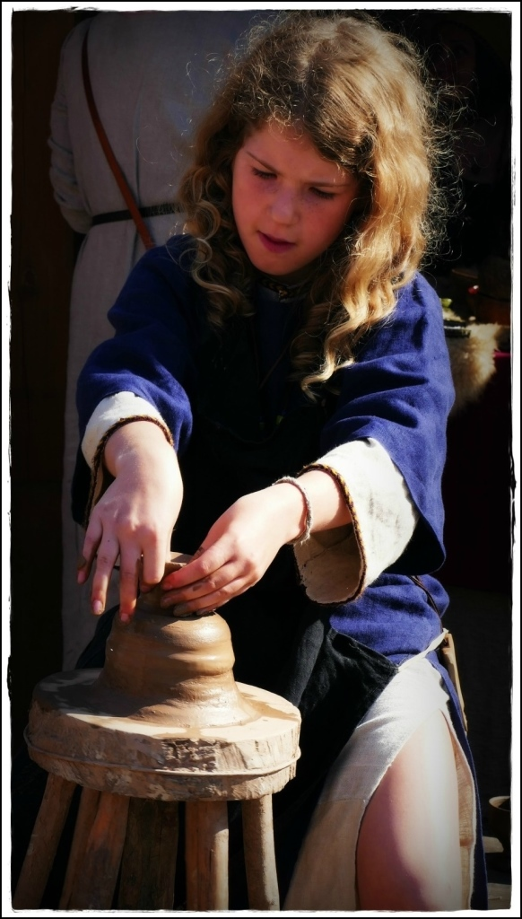 lithuania, trakai, medieval fair, girl, pottery