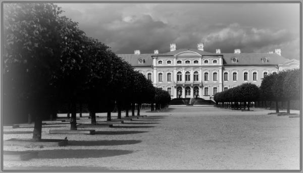 latvia, rundale palace, park view, bw