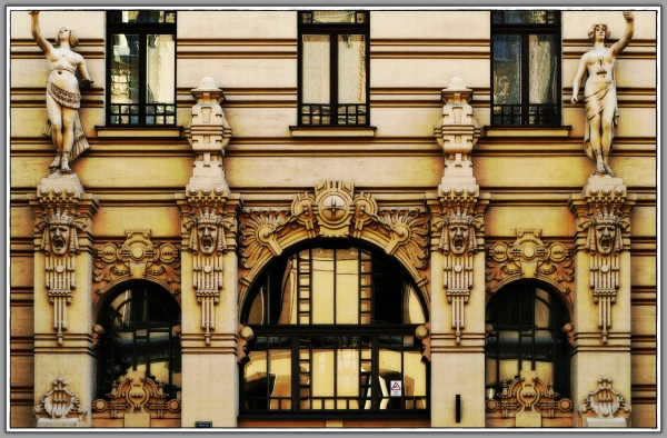 latvia, riga, art nouveau, house front
