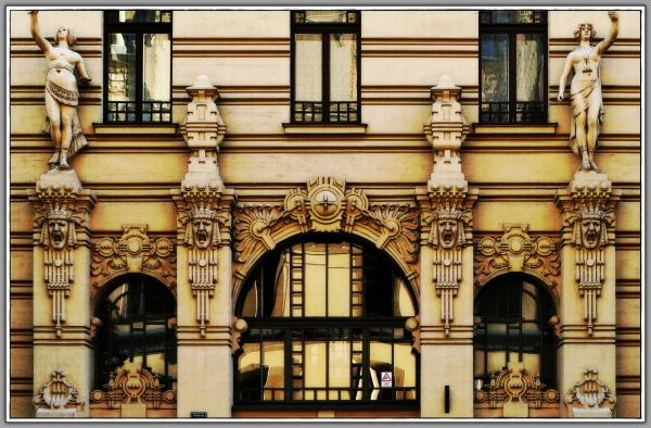 latvia, riga, art nouveau, house front