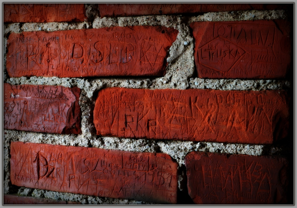 latvia, turaida, wall, bricks, inscriptions