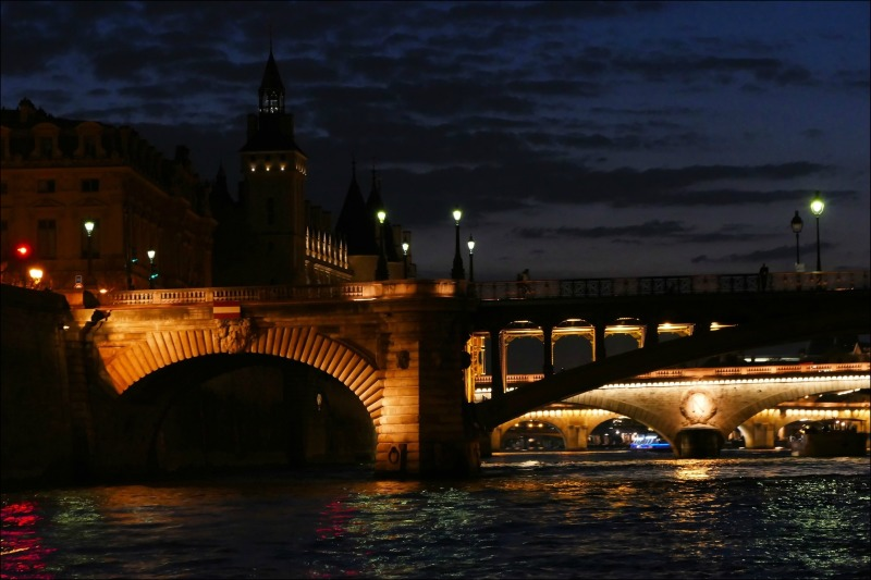 paris, seine, bridges, night