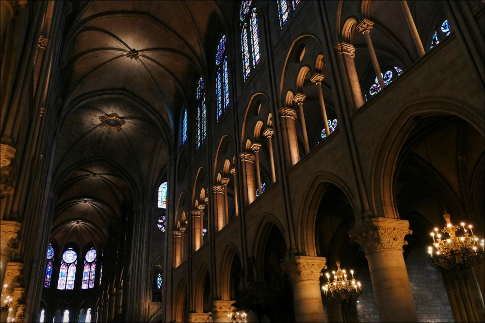 paris, notre dame cathedral, interior, columns