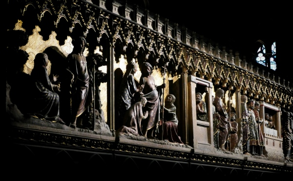paris, notre dame, choir wall, wood carving