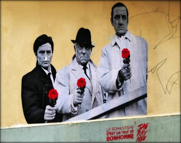 paris, montmartre, mural, delon, gabin, ventura