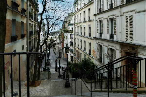 paris, montmartre, stairs, street