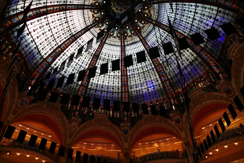 paris, galeries lafayette, glass dome