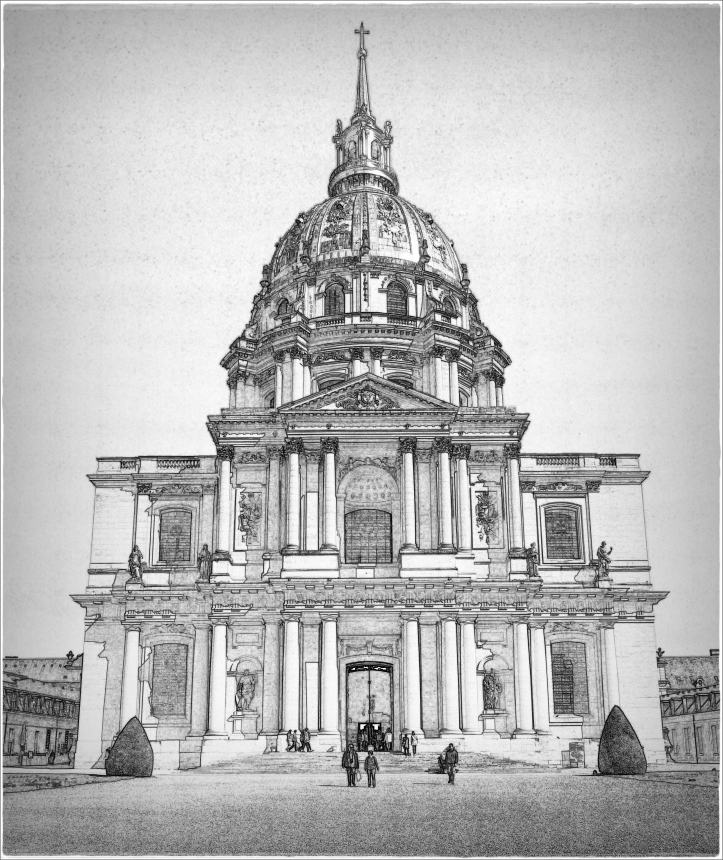 paris, dome-des-invalides pencil