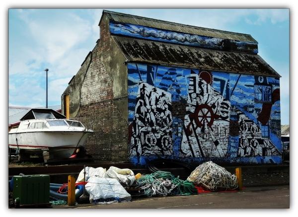 scotland, mallaig, mural, wall, boat