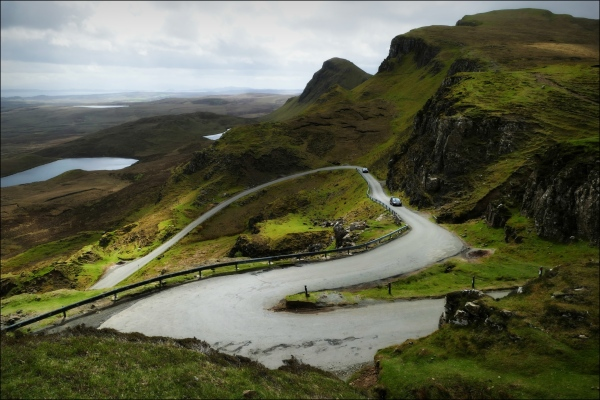 scotland, skye, quiraing, cliff, road
