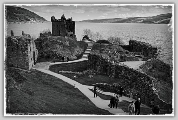 scotland, loch ness, urquhart castle, ruins, bw