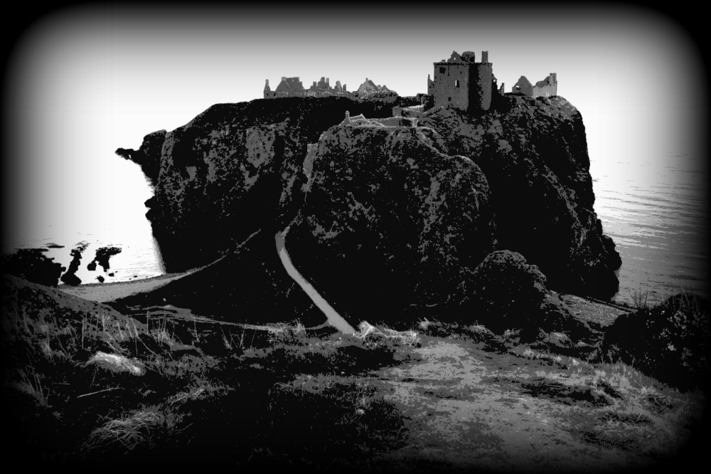scotland, dunnottar castle, bw, posterised