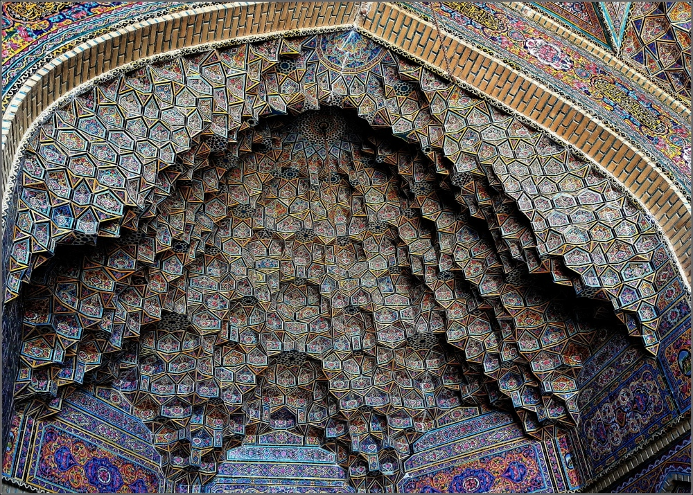 iran, shiraz, mosque, muqarnas, tiles, iwan