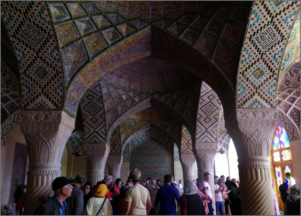 iran, shiraz, mosque, arches, tiles, columns