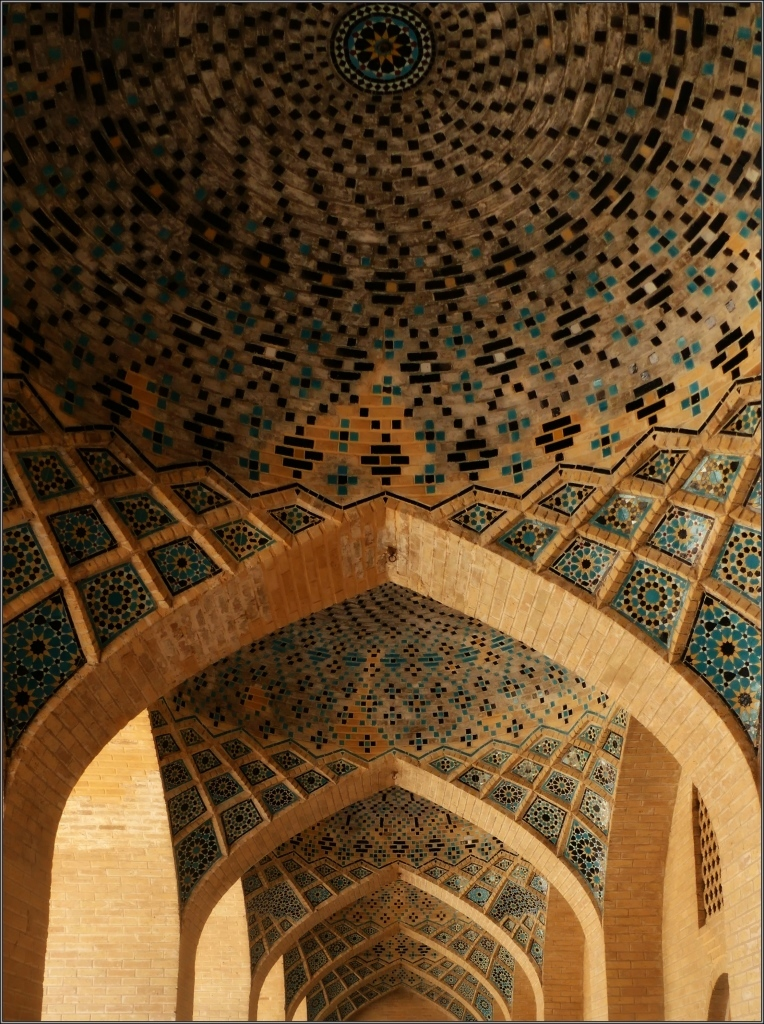 iran, shiraz, mosque, arches, tiles, domes