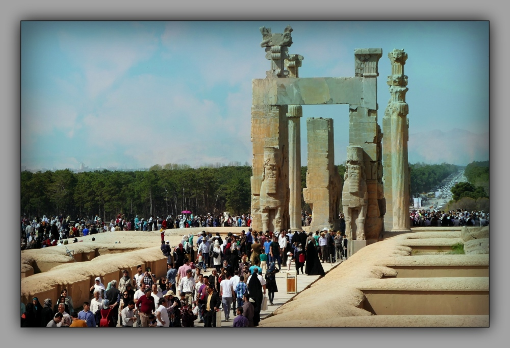 iran, persepolis, terrace, columns, people