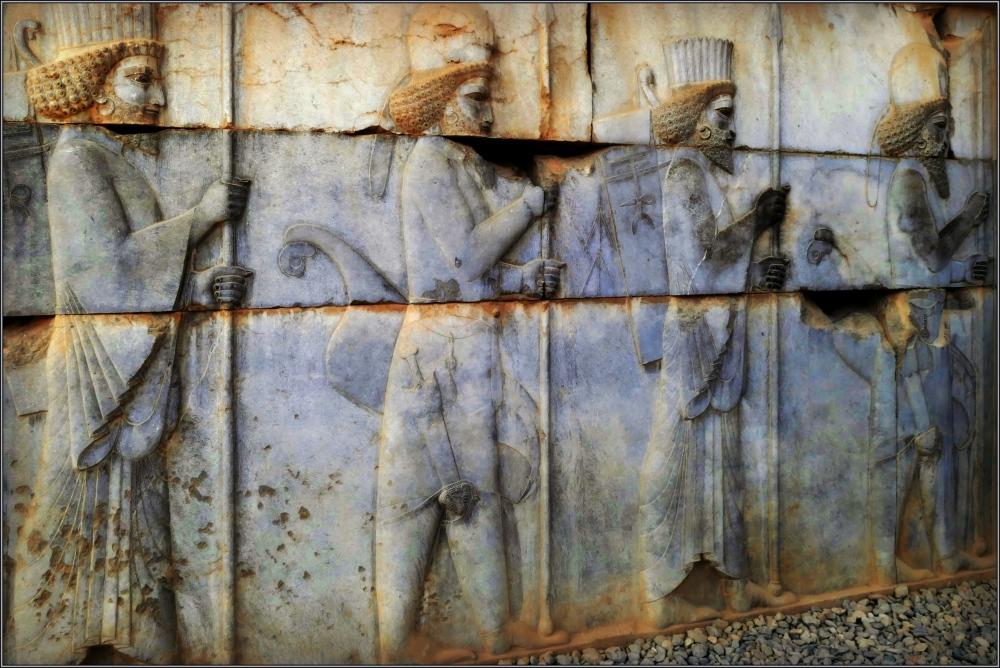 iran, persepolis, bas reliefs