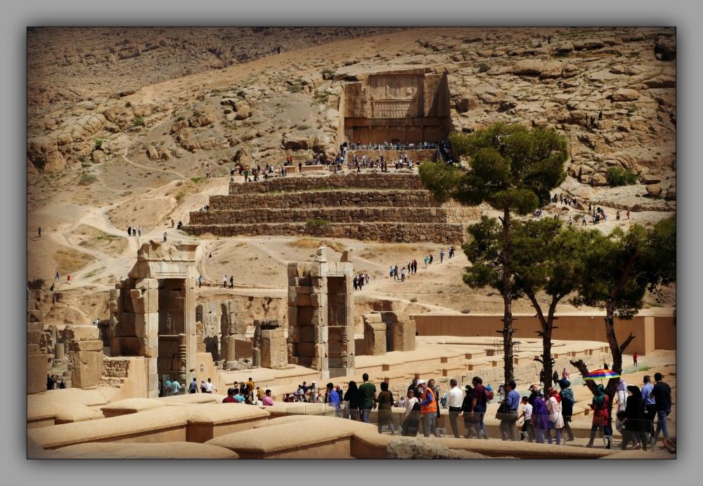 iran, persepolis, ruins, hillside, tomb