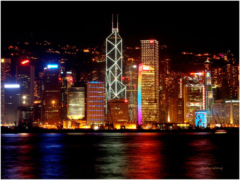 Night view of Victoria Harbour in Hong Kong
