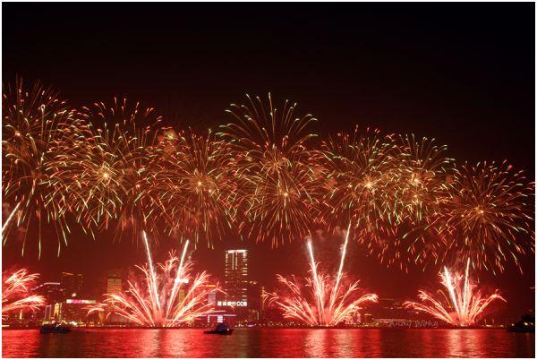 Lunar New Year Fireworks Display in Hong Kong