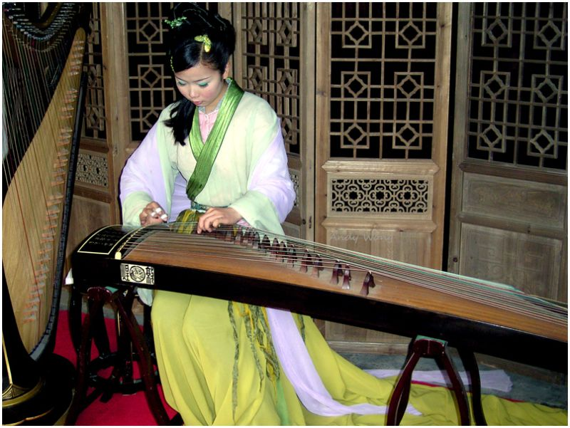 Playing Gu Zheng