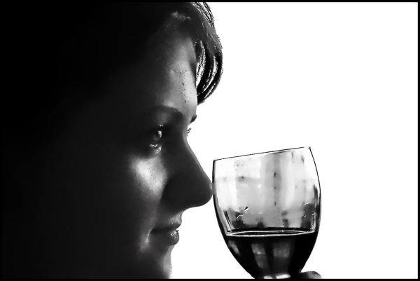 A Girl with wineglass