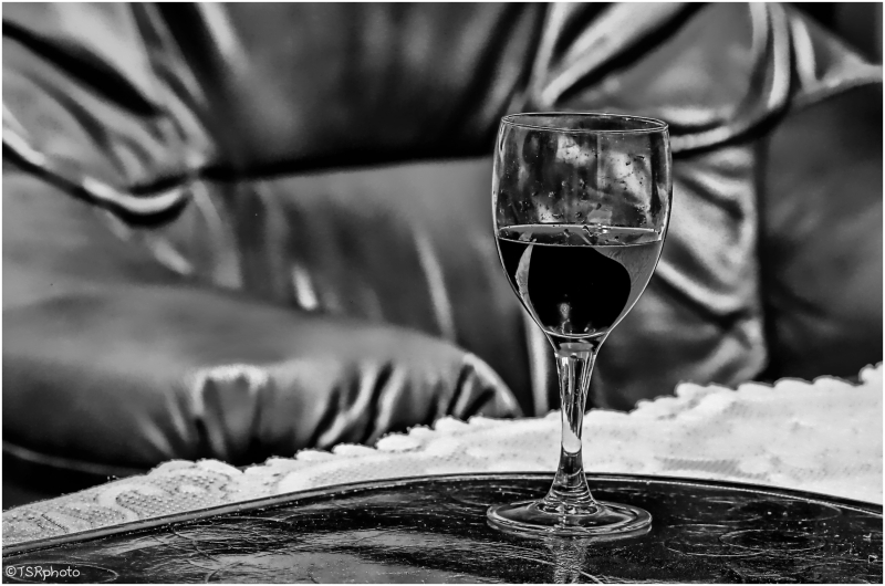 Red wine in B&W