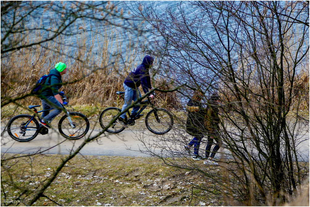 Bikers and walkers