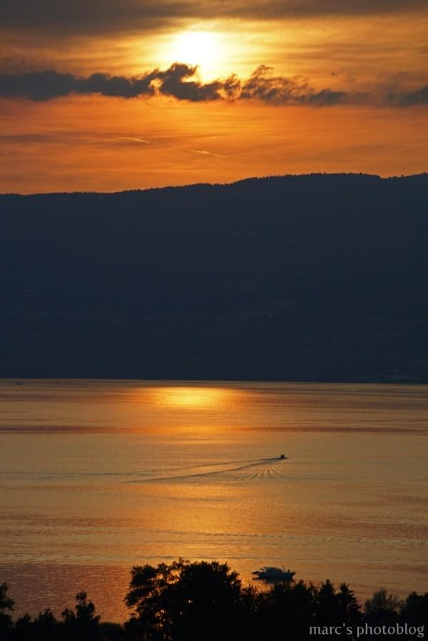 Couché de soleil sur le lac de Neuchâtel