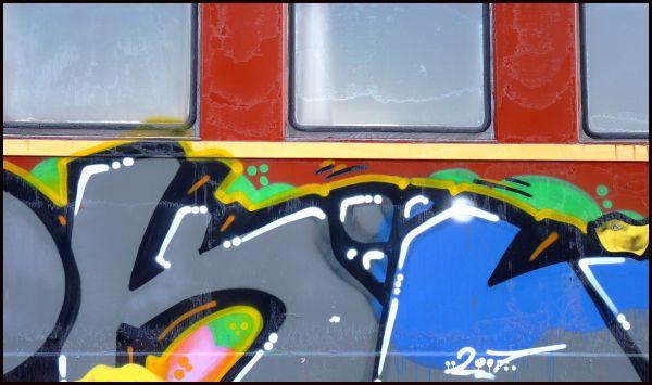 Frosty grafitti on train
