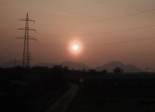 Sunset from train near Neustadt(Weinstrasse)