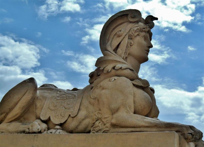 Sphinx guarding the Wasserturm, Mannheim