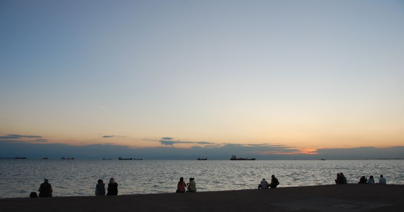 Watching the sunset in Thessaloniki