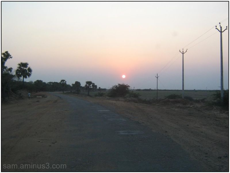 Sunset in a rural area
