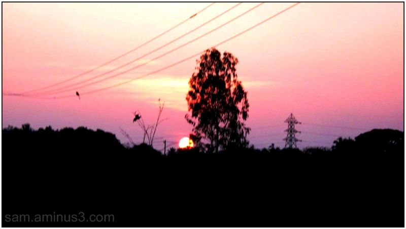 Sunset in rural Village