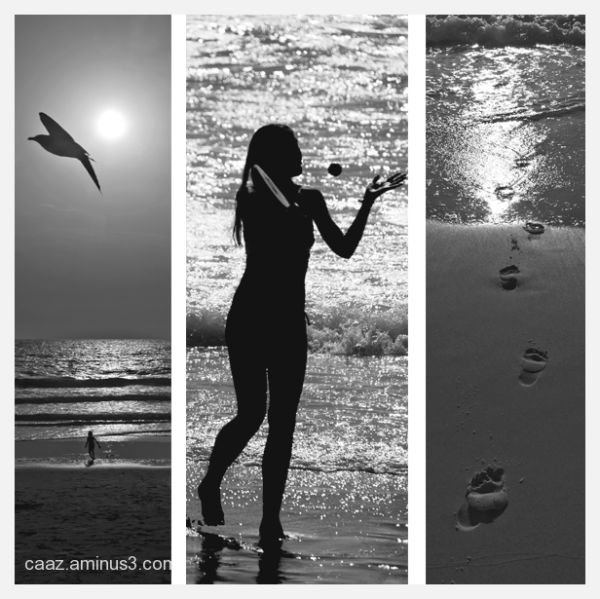 B/W triptych of the summer holidays