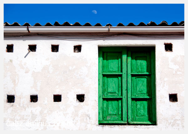 the green window & the moon behind the scene