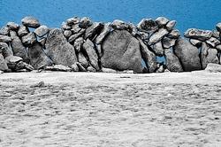 stones on blue