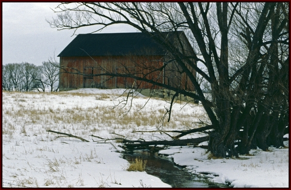 Rural barn at Winter time