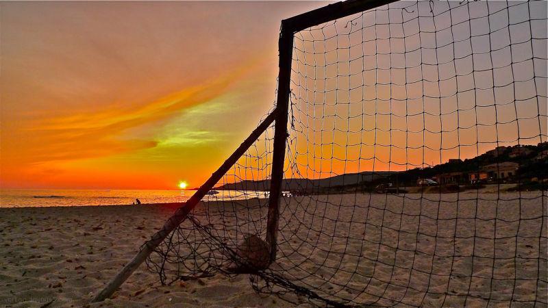 Sunset on corsica beach