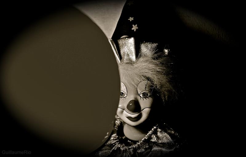 Clown under light
