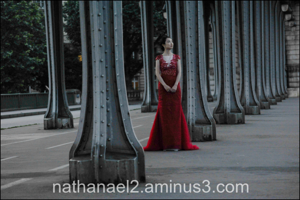 Woman in red...
