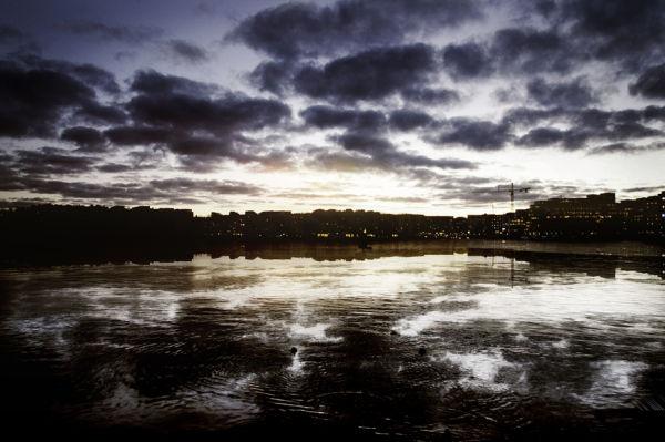 Wet Winter Stockholm by dusk.