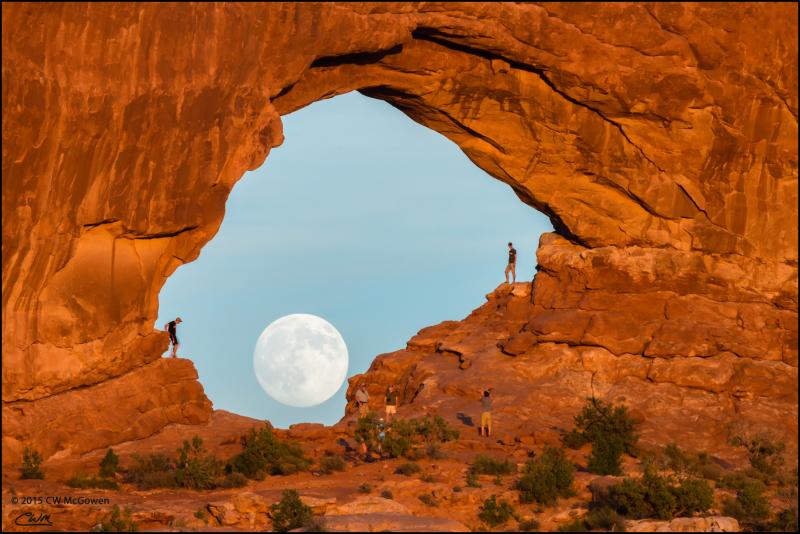 Full Moon Behind Window Arch