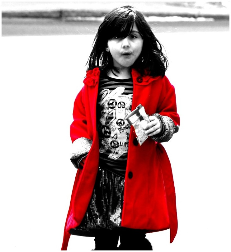 girl with a red coat on