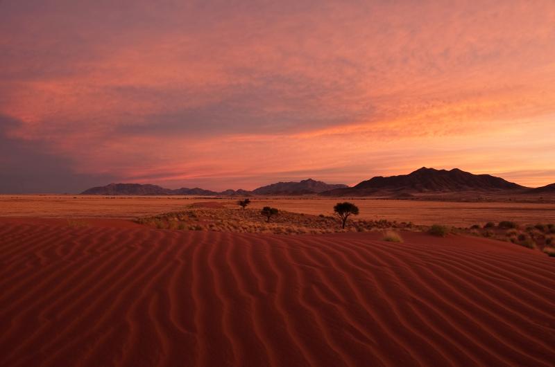 Namibian desert as daybreak.