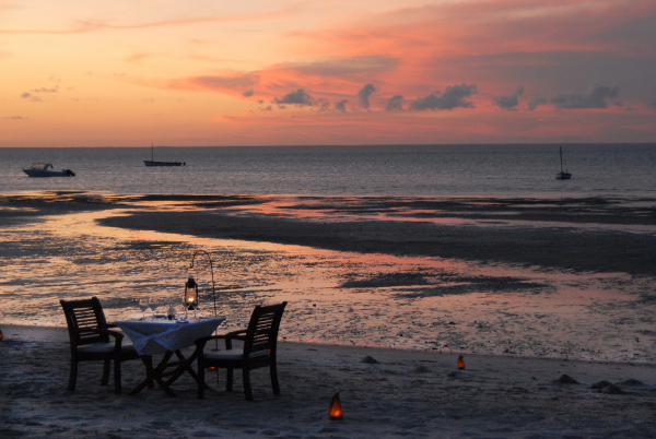 Table setting for dinner after sunset